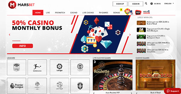 Marsbet leading casino and bookmaker